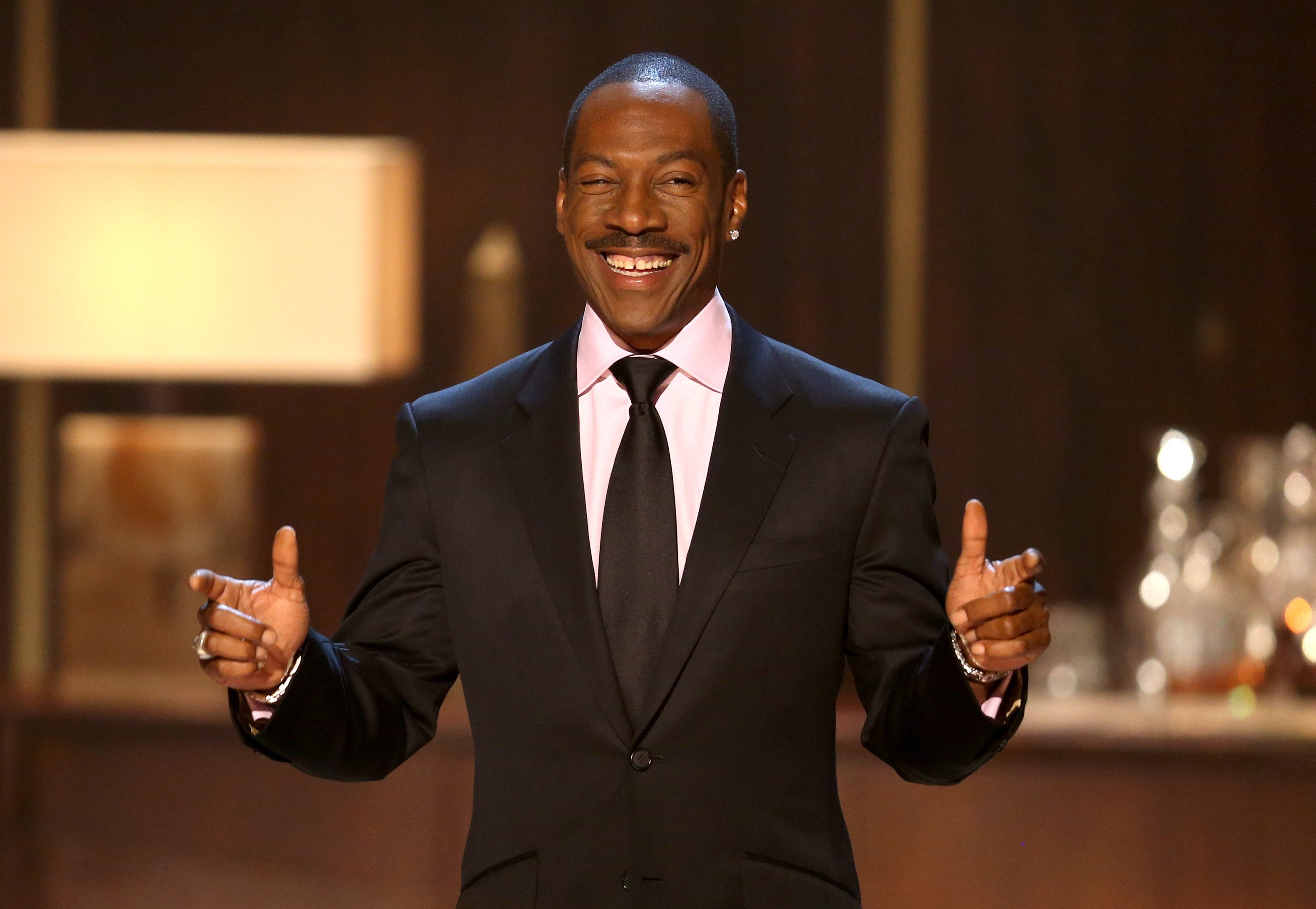 "Eddie Murphy speaks onstage at Spike TV's ""Eddie Murphy: One Night Only"" at the Saban Theatre on November 3, 2012. 