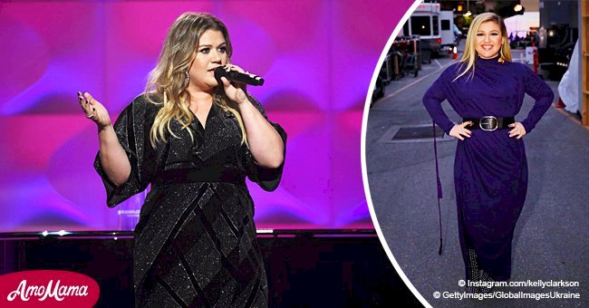 Kelly Clarkson flaunts hourglass figure in navy dress after losing 37 pounds this year