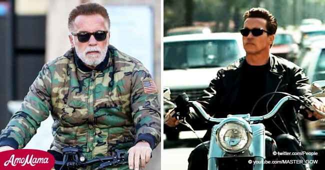 Arnold Schwarzenegger accidentally recreated his younger 'Terminator' photo while riding a bike