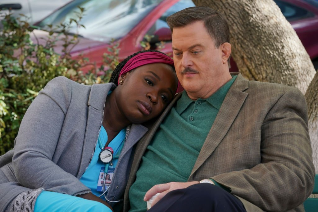 """Folake Olowofoyeku as Abishola and Billy Gardell as Bob on the set of the show, """"Bob Hearts Abishola"""" on March 2, 2020 