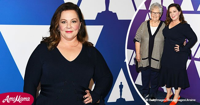 Melissa McCarthy in a rare public appearance with mom flaunts her slender figure in a navy dress