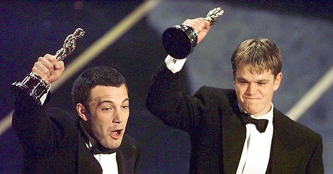 Ben Affleck and Matt Damon after winning in the Original Screenplay category during the 70th Academy Awards on March 24, 1998   Photo: Timothy A. Clary/AFP/Getty Images