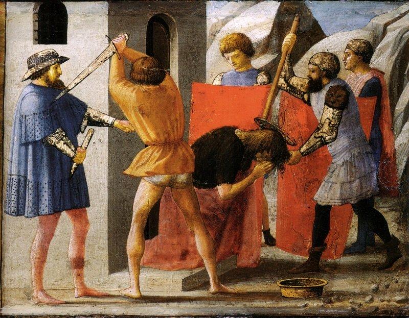Este hecho cuenta la muerte por decapitación de Juan el Bautista.  Fuente: Wikipedia