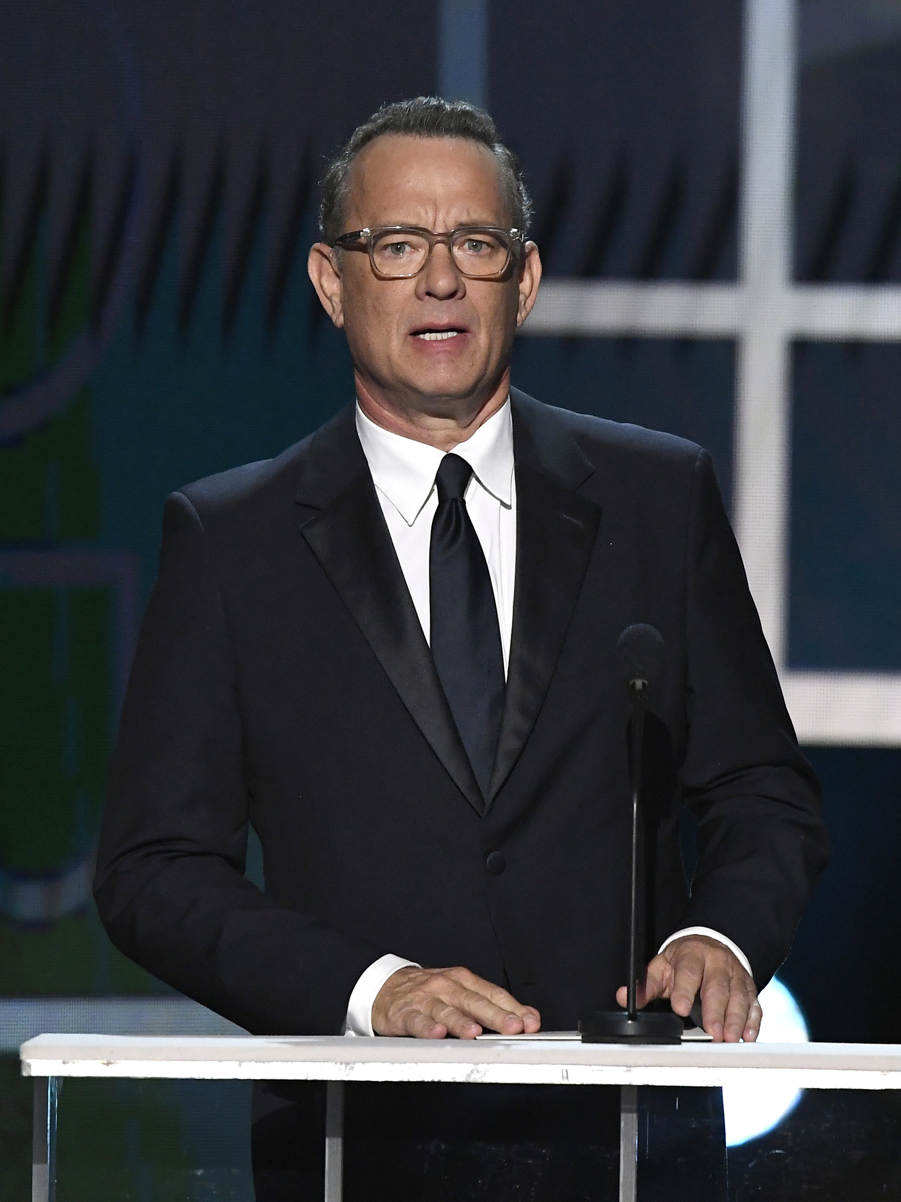 Tom Hanks speaks during the 26th Annual Screen ActorsGuild Awards on January 19, 2020, in Los Angeles, California. | Source: Getty Images.