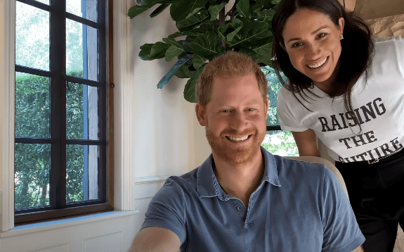 """Prince Harry and Meghan Markle pictured in a clip from a trailer for """"The Me You Can't See."""" 