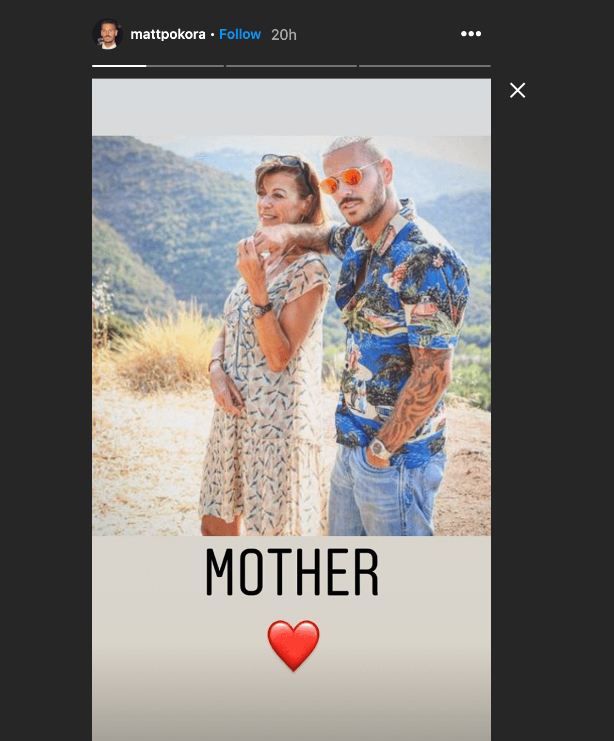 Capture d'écran de la story de Matt Pokora. | Photo : Instagram