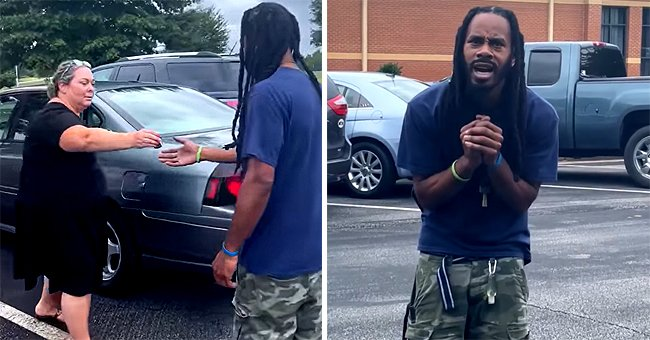 A teacher handing Chris Jackson keys to his new vehicle [left]; Jackson looking in awe at his new vehicle [right]. | Source: facebook.com/UnityGroveElementary