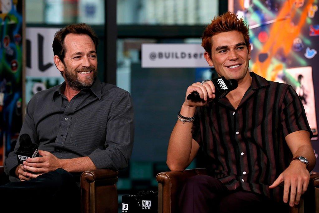 "Luke Perry (L) and K. J. Apa attend the Build Series to discuss ""Riverdale"" at Build Studio on October 8, 2018 