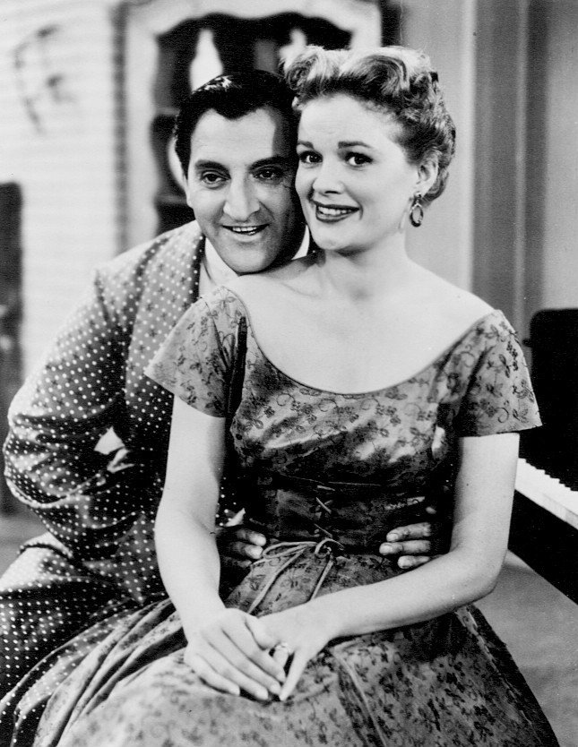 "Danny Thomas and Jean Hagen in a scene from the television comedy series ""The Danny Thomas Show"" circa 1955. 