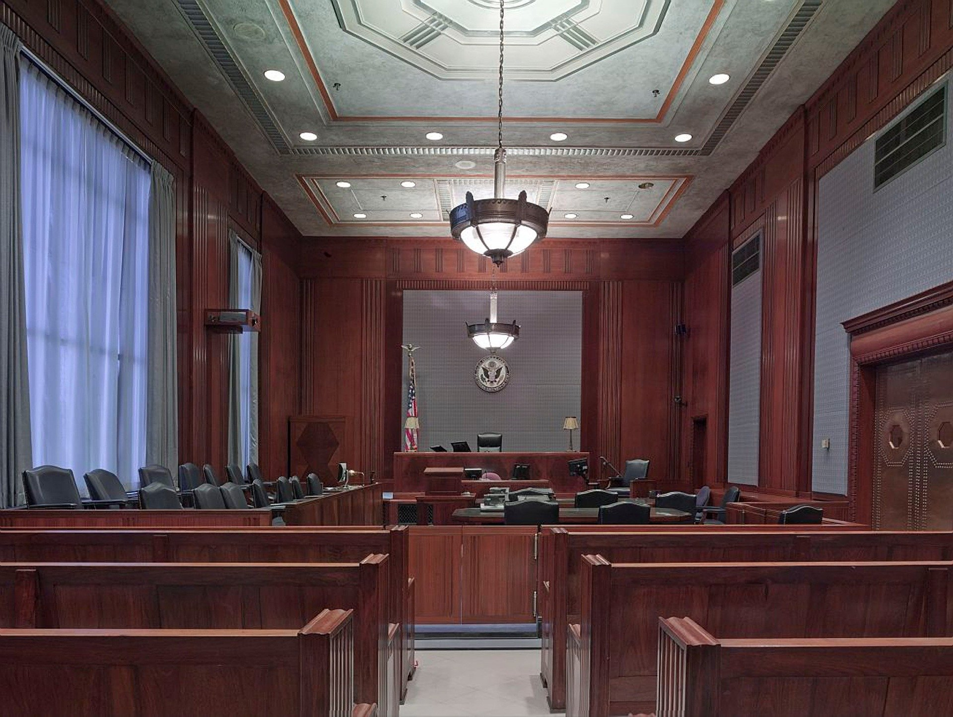Pictured - Courtroom benches   Sources: Pixabay