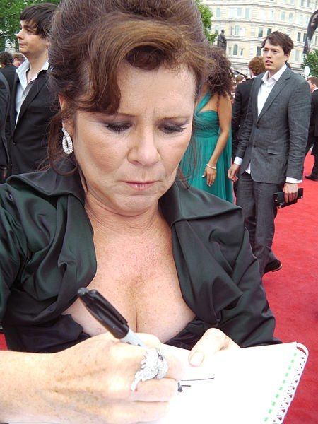 "Imelda Staunton at the ""Harry Potter"" premiere in London. Source: Wikimedia Commons"