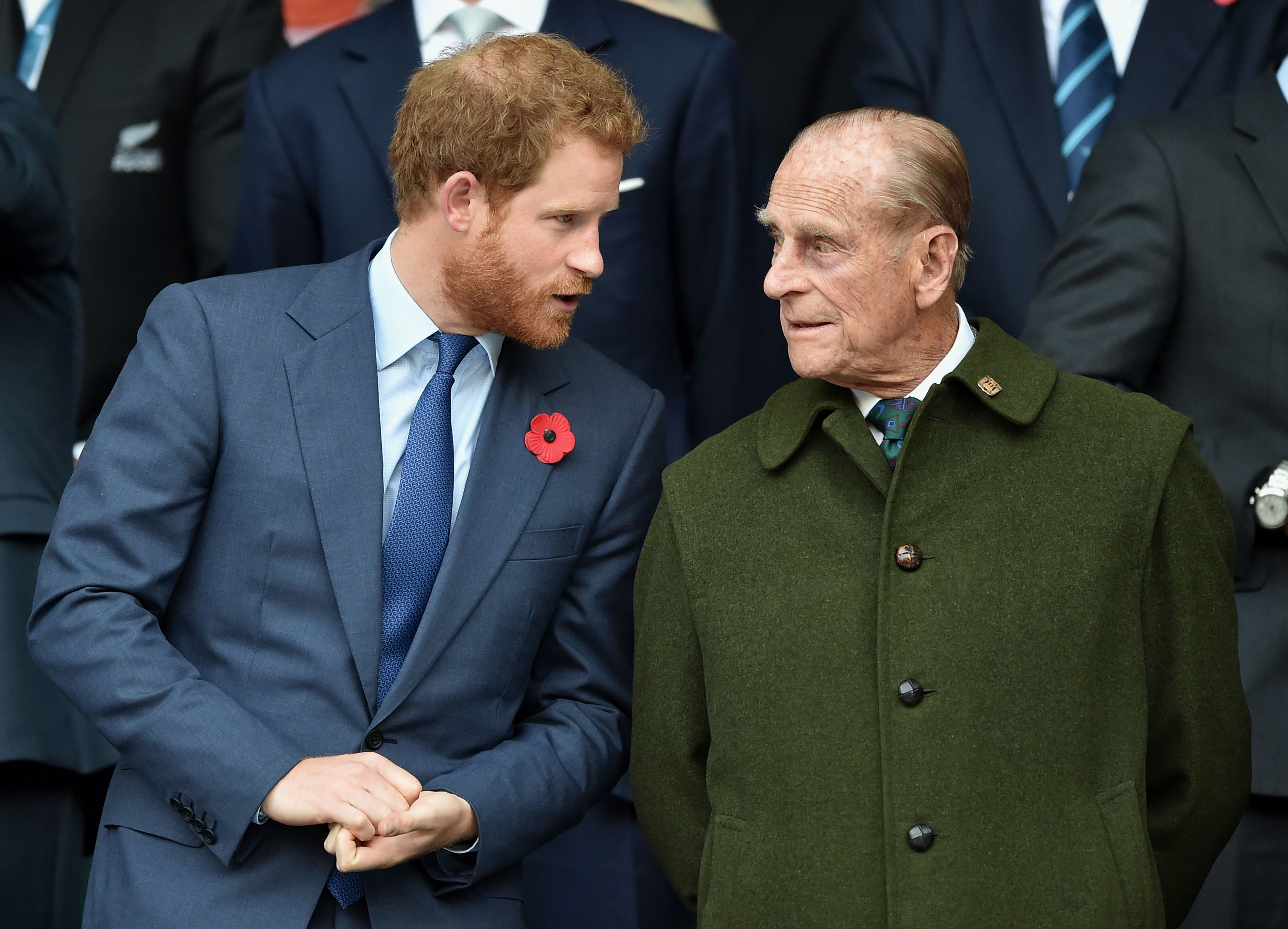 Prince Harry and Prince Philip, Duke of Edinburgh at the 2015 Rugby World Cup Final match between New Zealand and Australia at Twickenham Stadium in London, England | Photo: Max Mumby/Pool/Indigo/Getty Images