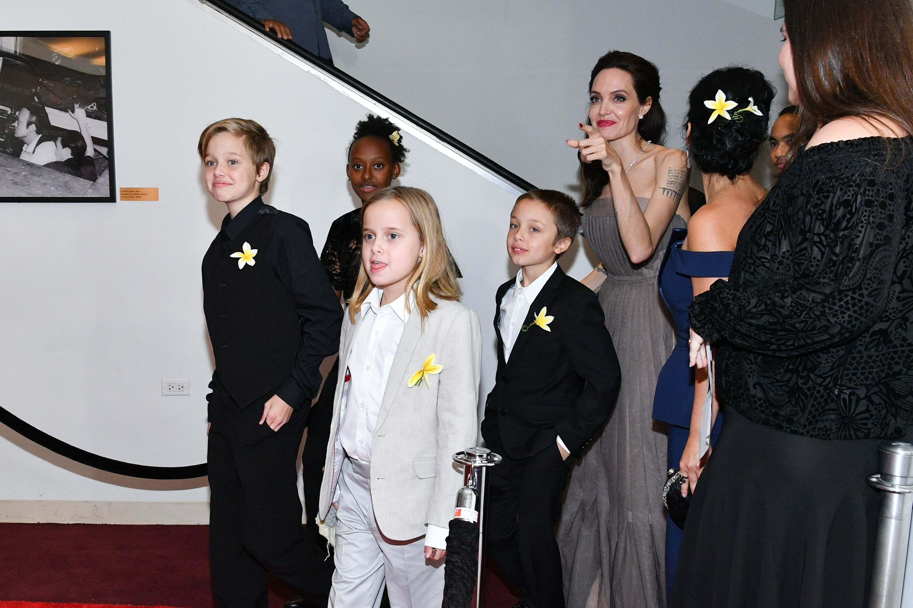 """Shiloh Jolie-Pitt, Zahara Jolie-Pitt, Vivienne Jolie-Pitt, Knox Leon Jolie-Pitt, and Angelina Jolie attend the """"First They Killed My Father"""" New York premiere 