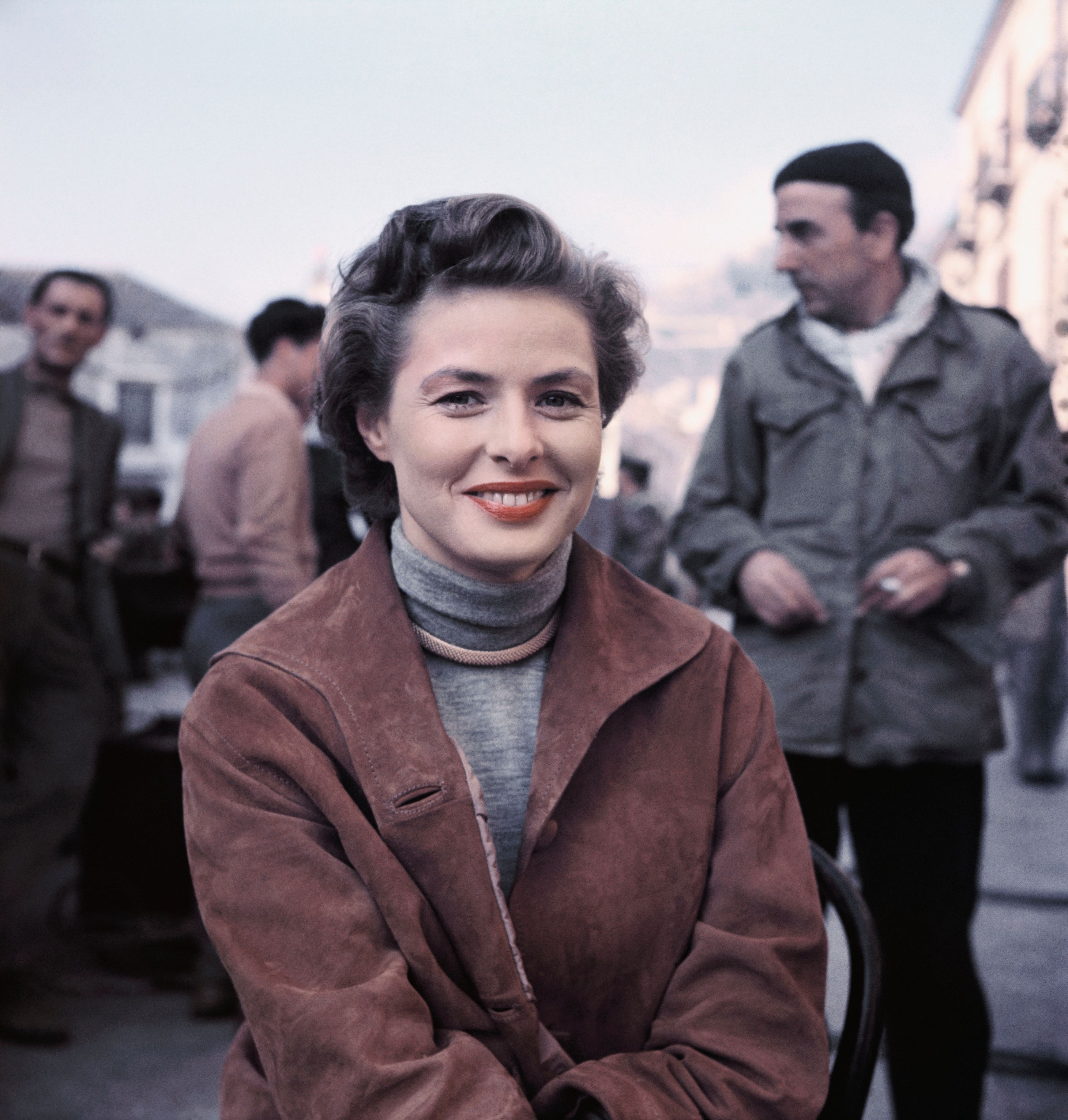 """Ingrid Bergman on the set of """"Journey to Italy"""" directed by her husband, Roberto Rossellini, in 1954 
