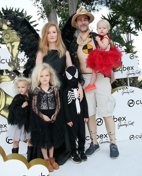 James Van Der Beek, Kimberly Brook and children at the CYBEX and Jeremy Scott's Halloween extravaganza at the Hollywood Castle on October 28, 2017 in Hollywood, California.| Photo: Getty Images