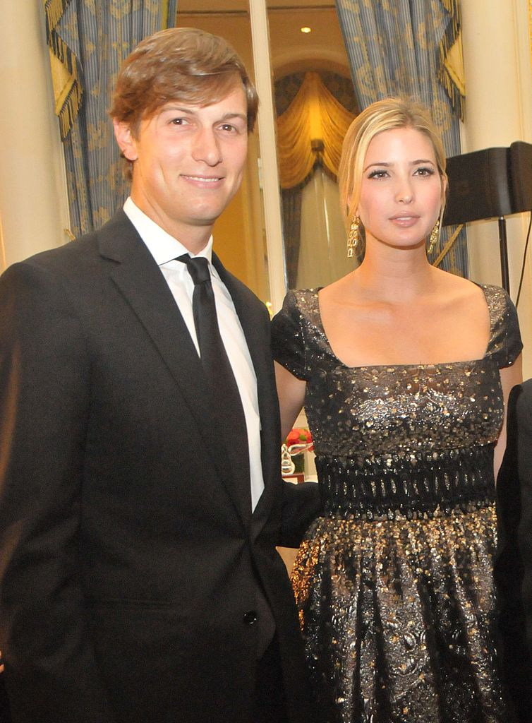 Ivanka Trump, daughter of Donald Trump and executive vice president of the Trump Organization, arrives with husband Jared Kushner, owner of the New York Observer, at the Appeal of Conscience Foundation dinner at the Waldorf-Astoria | Photo: Getty Images