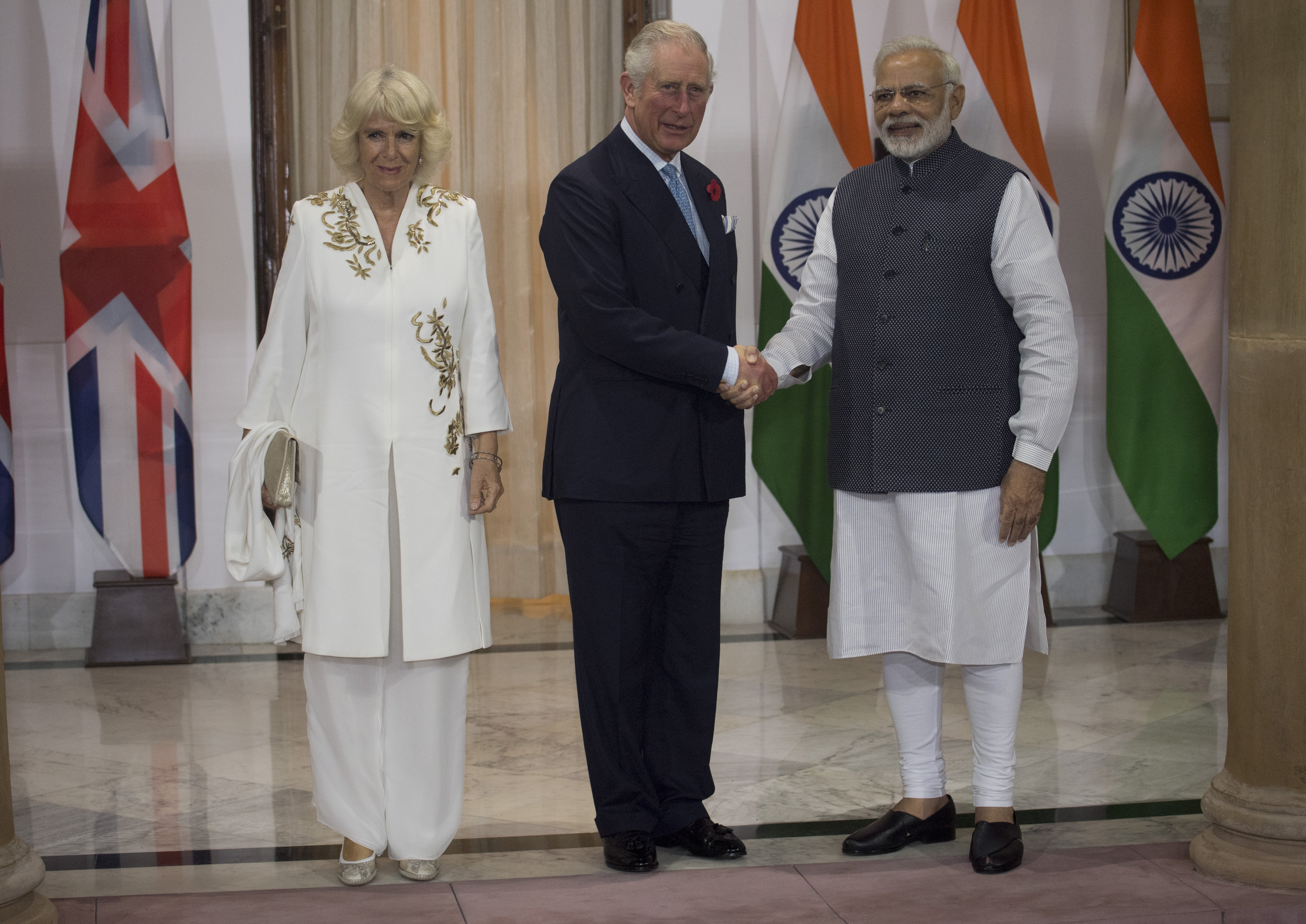 Prince Charles and Camilla are greeted by Mr Narendra Modi, Prime Minister of India at Hyderabad House  on November 9, 2017 in New Delhi, India. | Source: Getty Images.