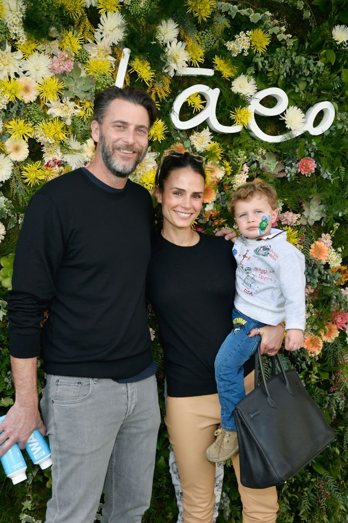 Andrew Form, Jordana Brewster and their son at Baeo Launch Party in 2019 in Pacific Palisades, California   Source: Getty Images