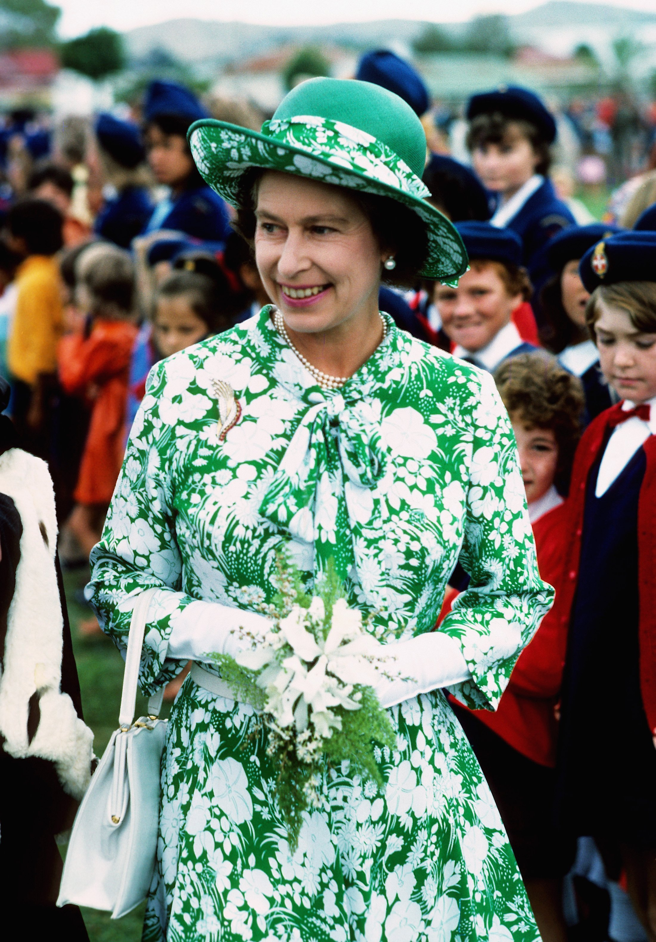Queen Elizabeth ll smiles during her visit to New Zealand part of her Silver Jubilee Year Tour in March of 1977. | Source: Getty Images