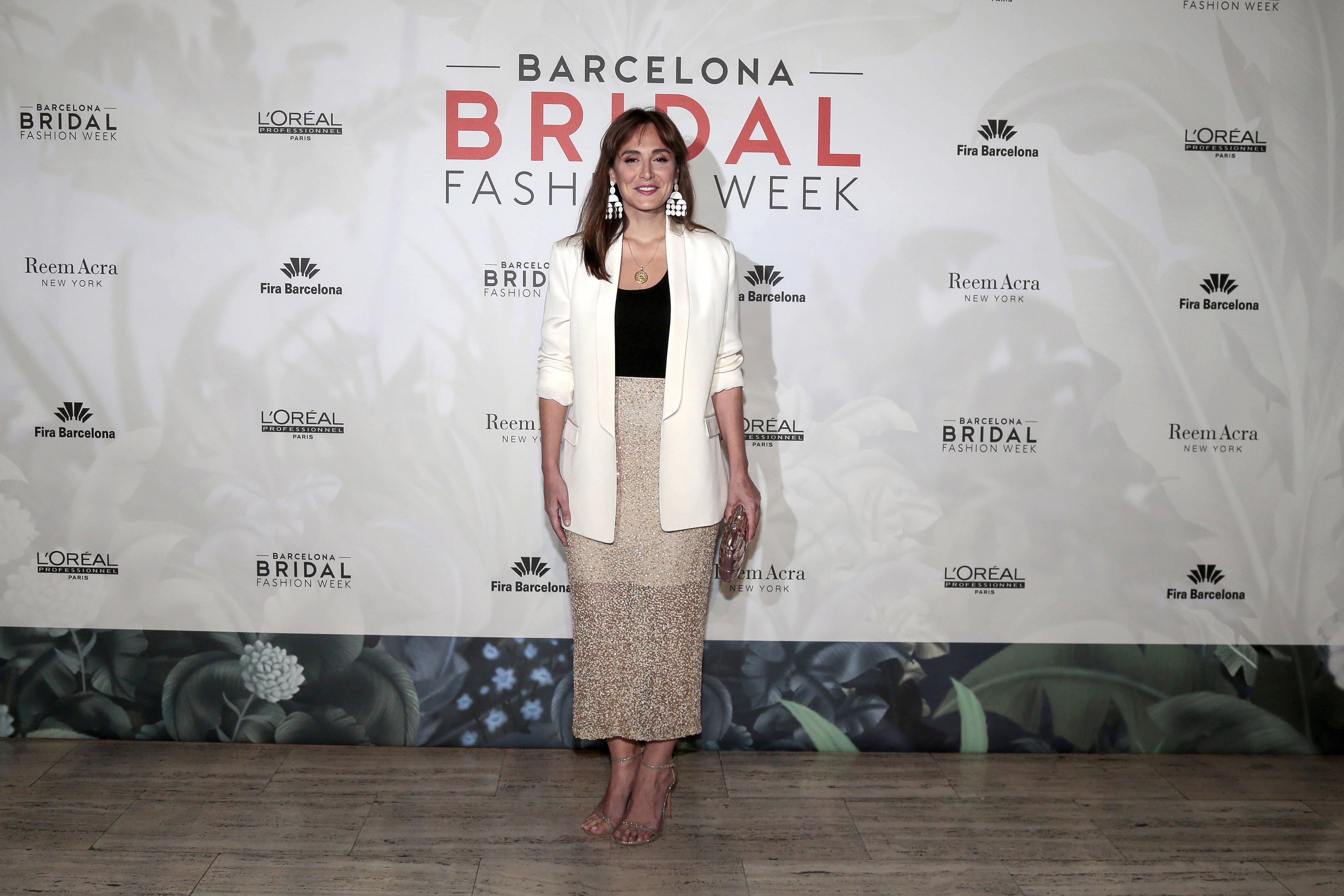 Tamara Falcó asiste al estreno de la nueva colección de Reem Acra en el Barcelona Fashion Week 2018, en el Museo Maritim de Barcelona, en abril de 2018 || Fuente: Getty Images
