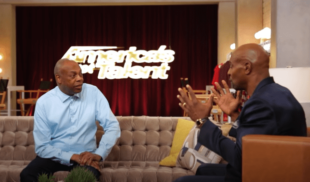 """""""Police Academy"""" star Michael Winslow chatting with actor Terry Crews on the set of """"America's Got Talent""""   Photo: Youtube/America's Got Talent"""