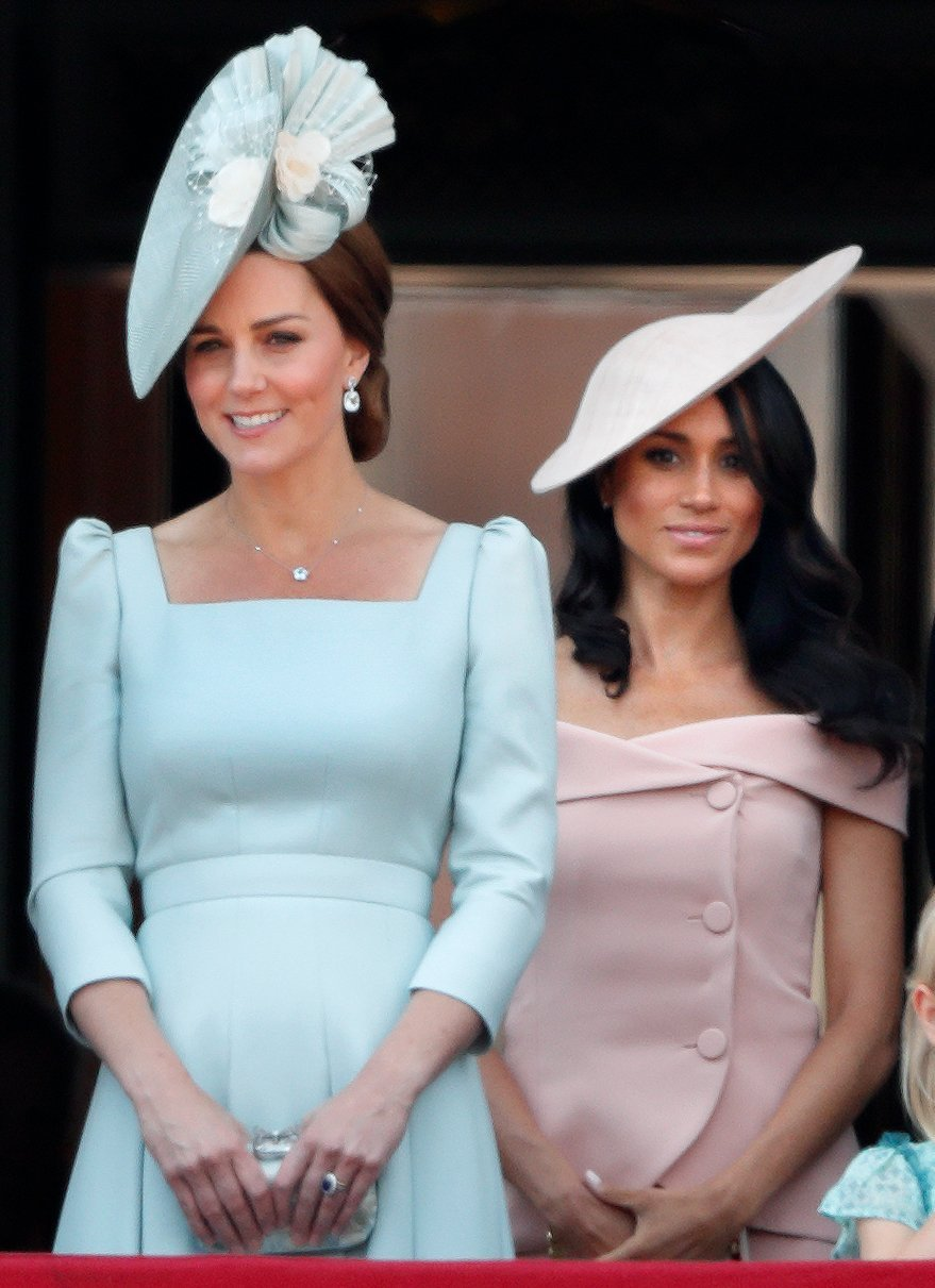 Kate Middleton and Meghan Markle during Trooping the Colour in 2018   Photo: Getty Images