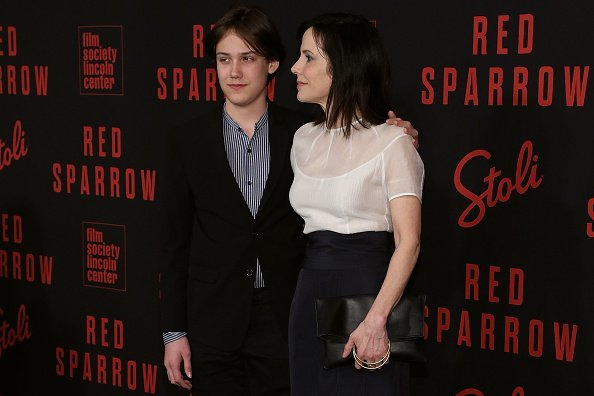 """William Atticus Parker and Mary Louise Parker at the premiere of """"Red Sparrow"""" on February 26, 2018 