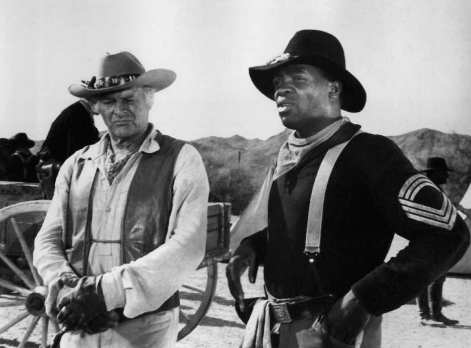 """Leif Erickson and Yaphet Kotto from the television program """"The High Chaparral,"""" circa 1968. 