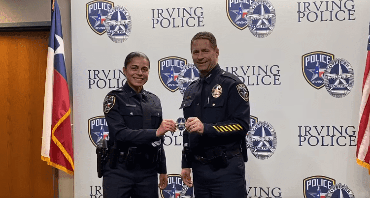 Erika Benning receiving her police badge during her swearing-in ceremony as a police officer with the Irving Police Department in Dallas, Texas. | Source: Facebook/Irving Police Department.