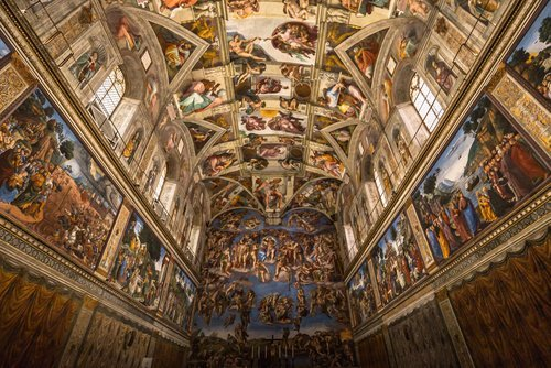 Painted ceiling of the Cistine Chapel in the Vatican. | Source: Shutterstock.