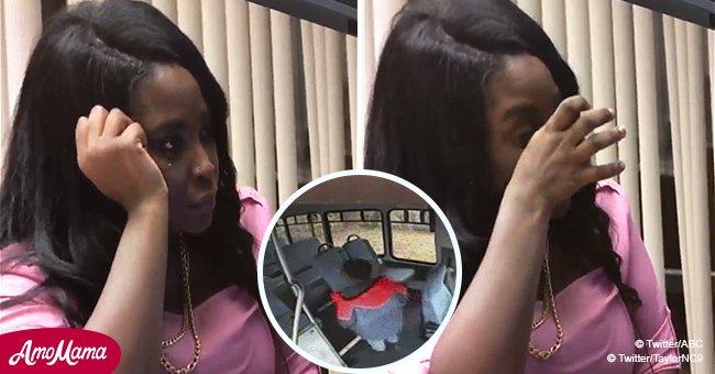 Eine Mutter weint, als sie sich das Video ansieht, das ihren fünfjährigen Sohn zeigt, der in einem leeren Schulbus aufwacht