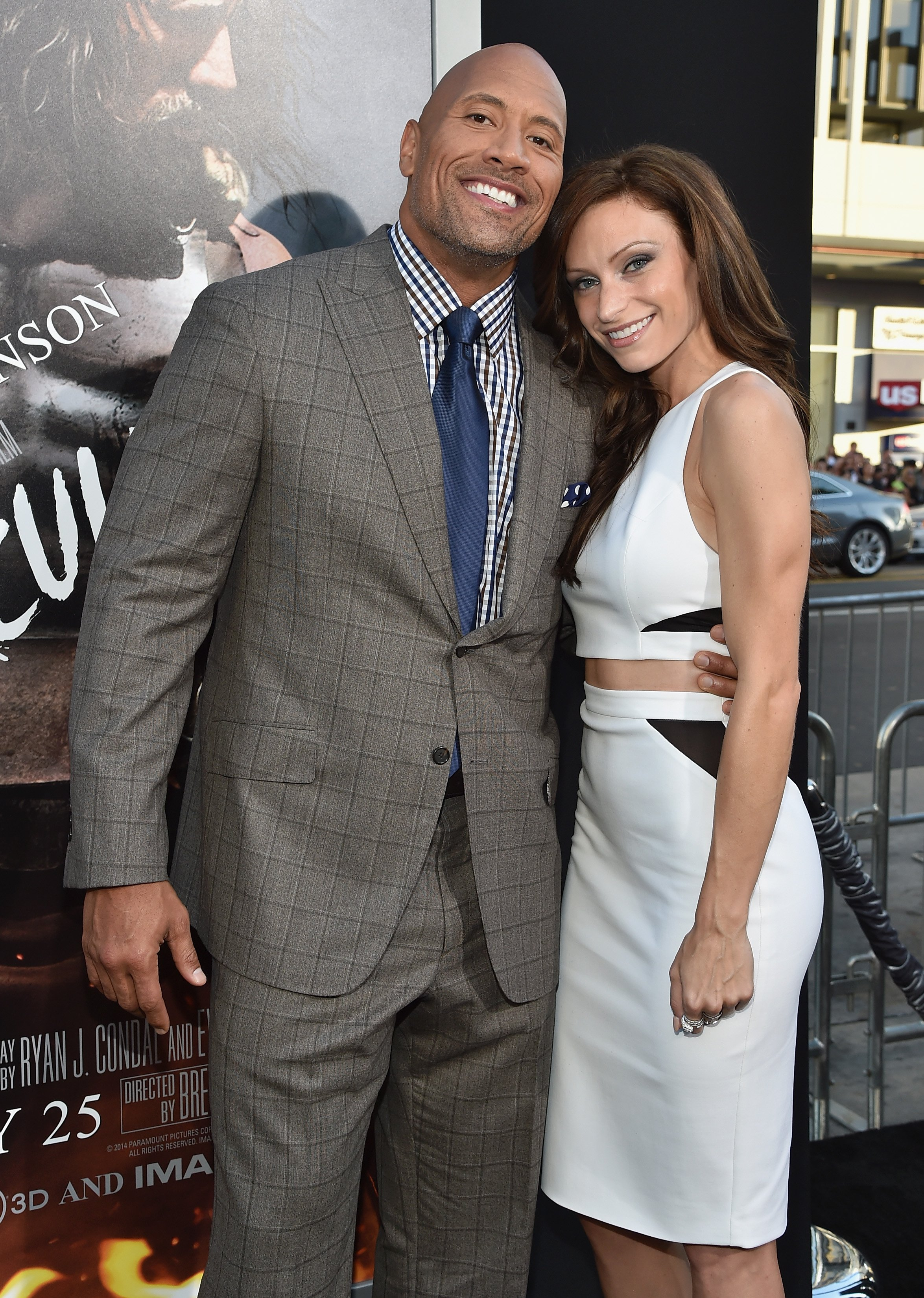 """Dwayne Johnson and Lauren Hashian attend the premiere of """"Hercules"""" in Hollywood, California on July 23, 2014   Photo: Getty Images"""