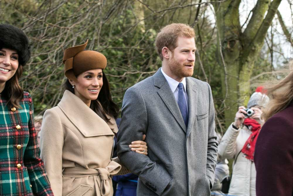 Prince Harry and Meghan Markle with other members of the Royal family going to church at Sandringham on Christmas Day 2017 | Source: Wikimedia Commons