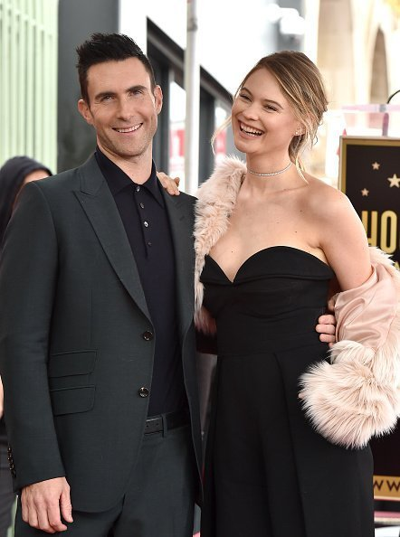 Adam Levine and wife model Behati Prinsloo at the ceremony honoring Adam Levine in Hollywood, California | Photo: Getty Images