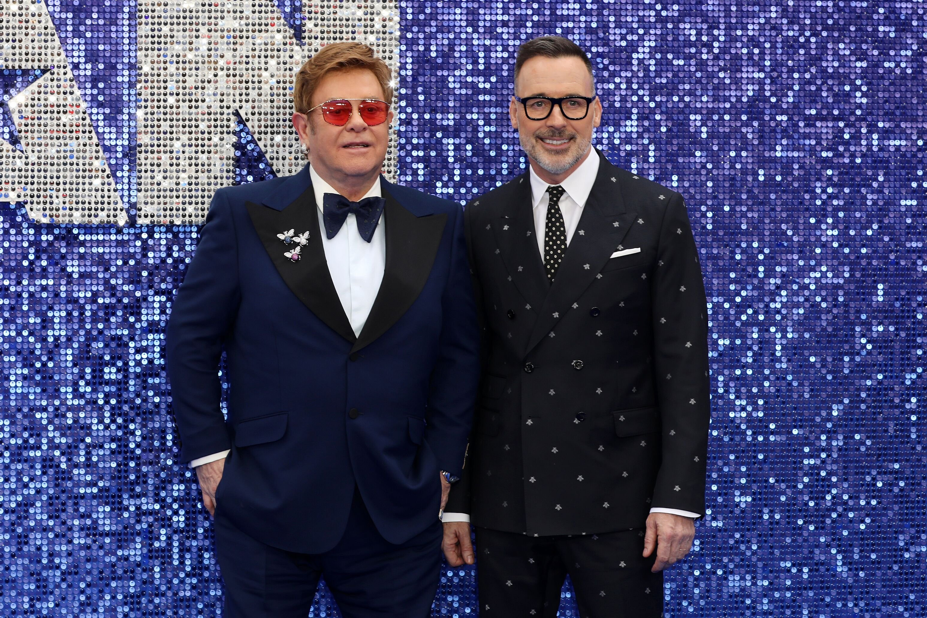 "Sir Elton John and David Furnish attend the ""Rocketman"" UK premiere at Odeon Luxe Leicester Square 
