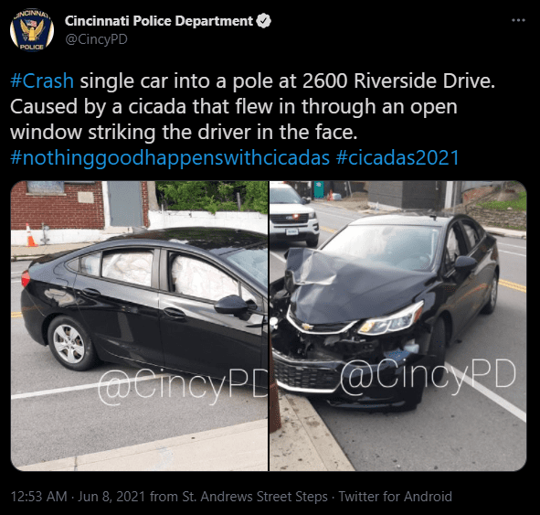 The Cincinnati Police department tweeted about the single car accident. 2021. | Photo: Twitter/CincyPD