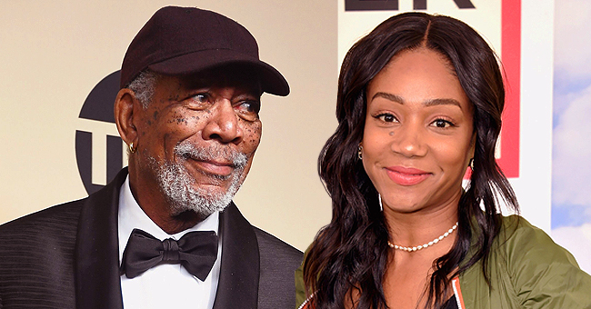 Morgan Freeman of 'Angel Has Fallen' Gives Tiffany Haddish the Side-Eye as She Smiles While Taking Their Photo