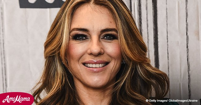 Elizabeth Hurley, 52, shares braless photo of herself in a partially see-through kaftan