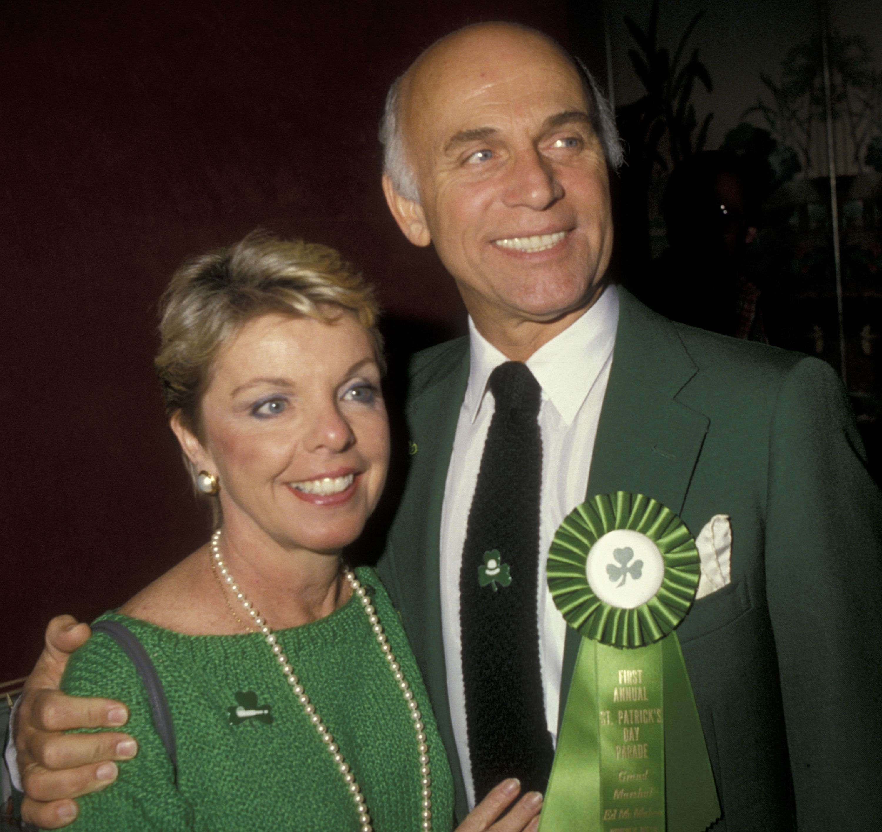 r Gavin MacLeod and wife Patti MacLeod at the First Annual St. Patrick's Day Parade in Beverly Hills in1985 | Source: Getty Images