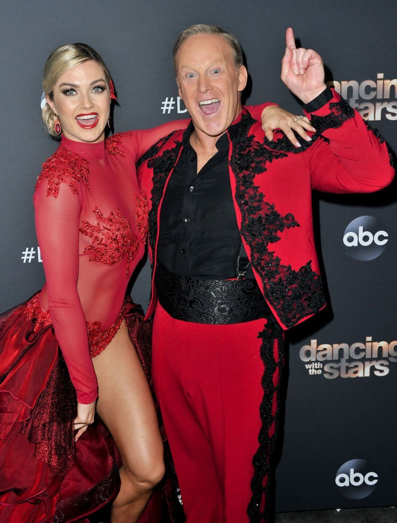 "indsay Arnold and Sean Spicer pose for a photo after the ""Dancing With The Stars"" Season 28 show at CBS Televison City. 