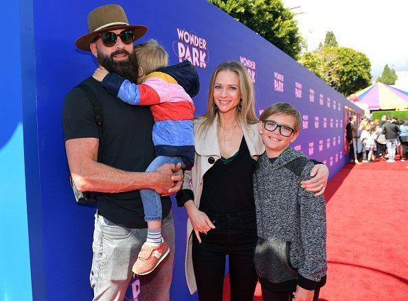 "Nathan Andersen and A.J. Cook with their children Phoenix Sky Andersen and Mekhai Allan Andersen attend the premiere of Paramount Pictures' ""Wonder Park"" at Regency Bruin Theatre on March 10, 2019, in Los Angeles, California. 