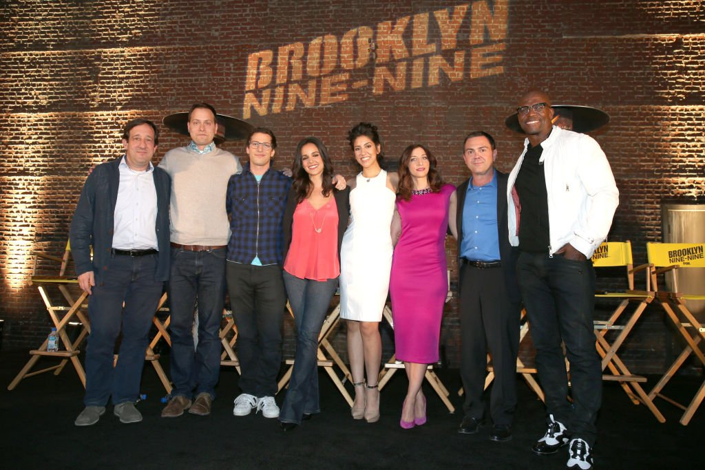 """""""Brooklyn Nine-Nine"""" cast and producers attend the """"Brooklyn Nine-Nine"""" steak-out block party and special screening event held at the Universal Studios Backlot on May 22, 2014. 