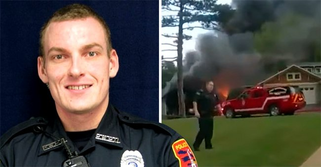 A brave officer acted quickly and managed to pull an elderly man from a burning house   Photo: Facebook/PortWashintonPoliceDepartment & Youtube/WISN 12 News