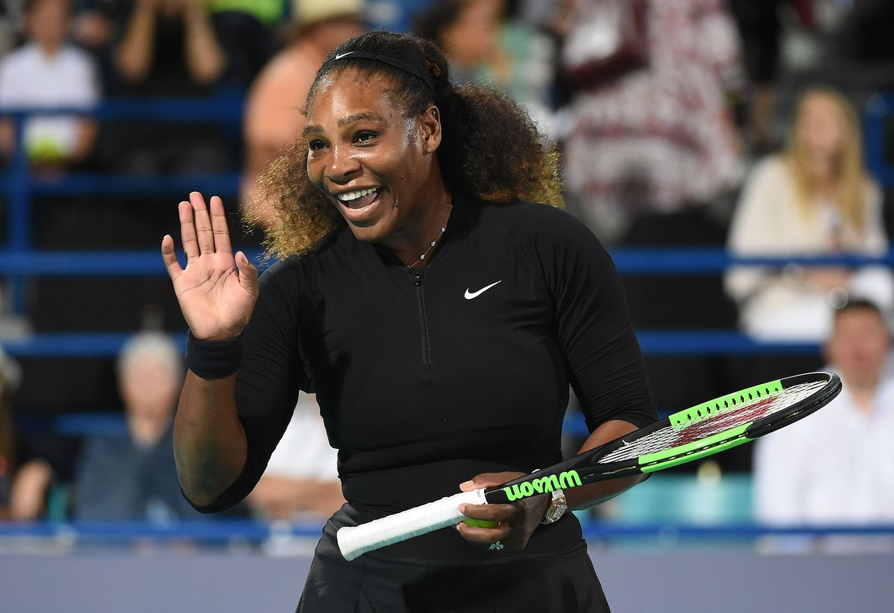 Serena Williams waved during her Ladies Final match against Jelena Ostapenko of Latvia at the Mubadala World Tennis Championship at International Tennis Centre Zayed Sports City on December 30, 2017 in Abu Dhabi, United Arab Emirates | Photo: Getty Images