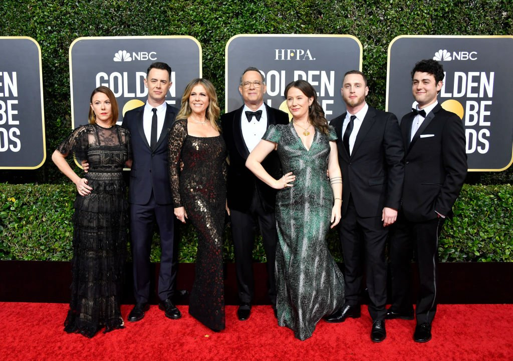 Samantha Bryant, Colin Hanks, Rita Wilson, Tom Hanks, Elizabeth Ann Hanks, Chet Hanks, and Truman Theodore Hanks attend the 77th Annual Golden Globe Awards at The Beverly Hilton Hotel on January 05, 2020 in Beverly Hills, California.   Photo: GettyImages