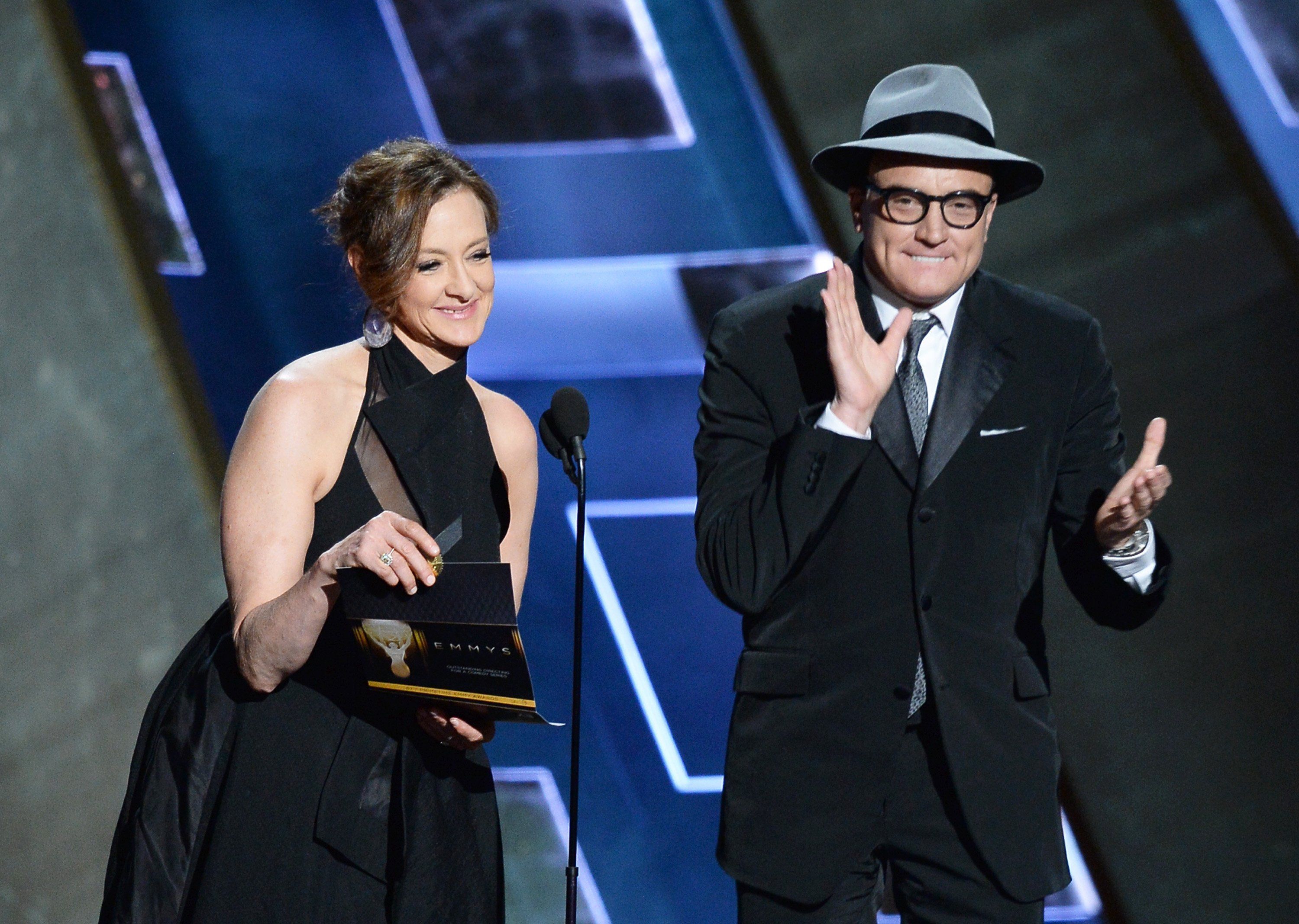 Joan Cusack (L) and actor Bradley Whitford speak onstage during the 67th Annual Primetime Emmy Awards at Microsoft Theater on September 20, 2015 | Photo: Getty Images