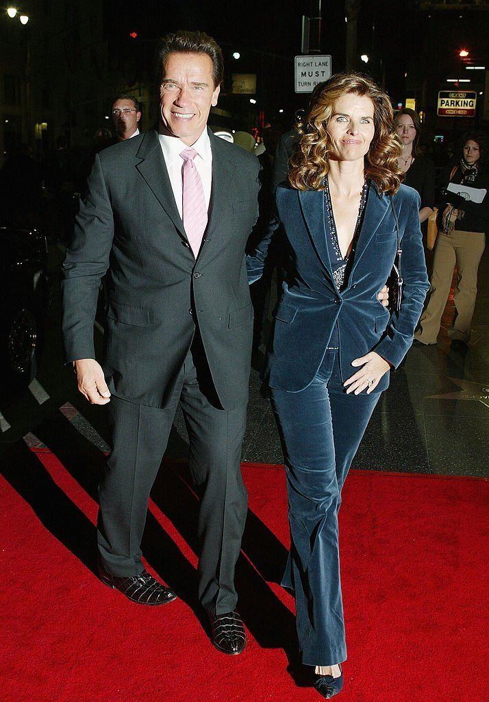 "Arnold Schwarzenegger and his wife Maria Shriver attend the film premiere of ""The Kid & I"" at The Mann Grauman's Chinese Theater on November 28, 2005, in Hollywood, California. 