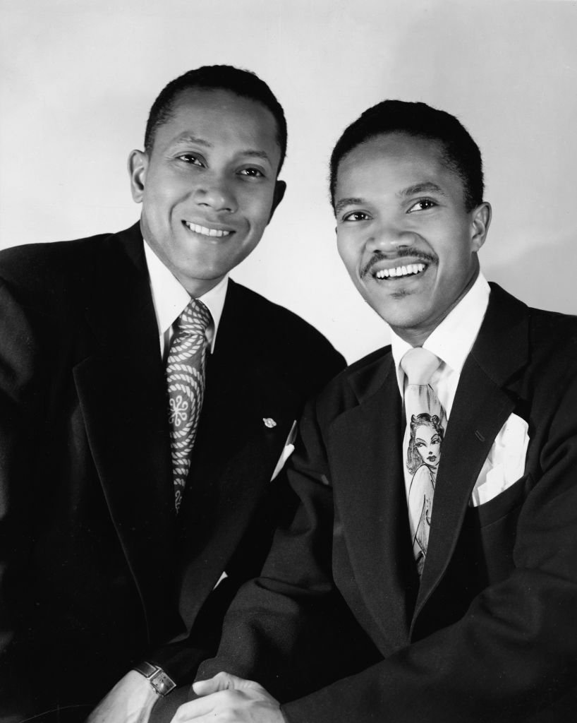 """American tap dancers Fayard and Harold Nicholas, known as The Nicholas Brothers, for the stage production of the musical """"St. Louis Woman,"""" circa 1940. 