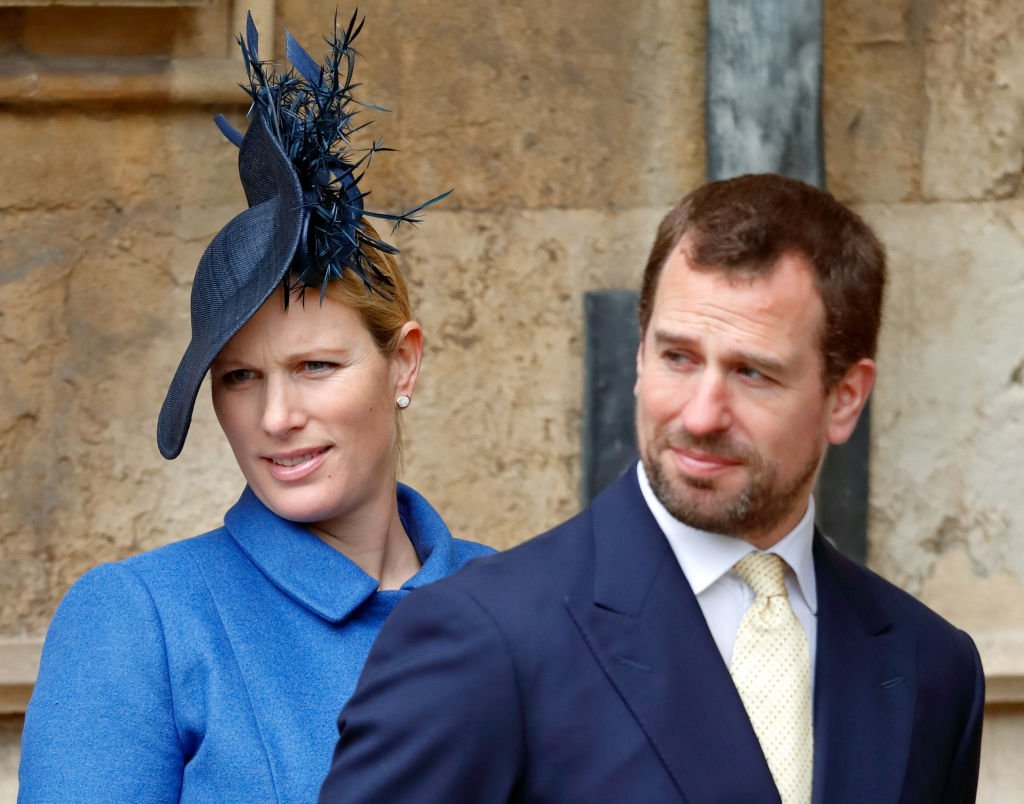 Zara Tindall and Peter Phillips at the traditional Easter Sunday church service at St George's Chapel, Windsor Castle on April 1, 2018 in Windsor, England | Photo: Getty Images