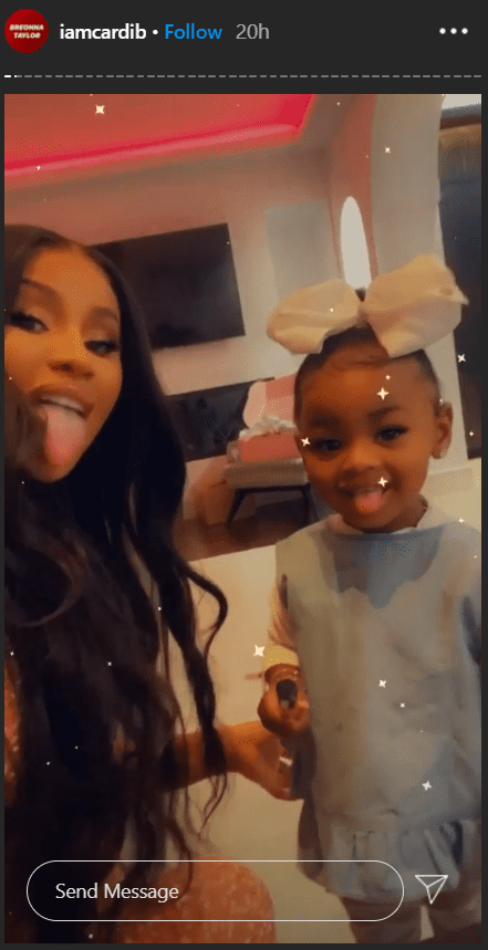 Cardi B and her daughter Kulture in a goofy selfie on Cardi's IG story. | Photo: Instagram/Iamcardib